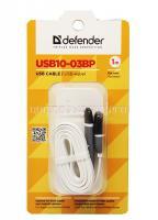 Кабель Defender USB10-03BP microUSB - Lightning, белый, 1м